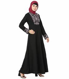 Black plain polyester stitched islamic abaya
