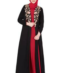 Black And Red Nida Embroidered Stitched Islamic Abaya with cardigan