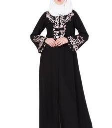 Black And Pink Nida Embroidered Stitched Islamic Abaya