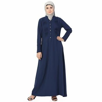 Blue plain polyester stitched islamic abaya