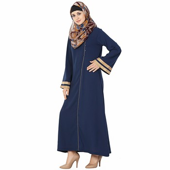 Blue plain polyester stitched islamic abaya