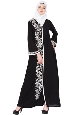 Black And White Nida Embroidered Stitched Islamic Abaya