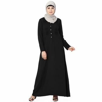 Black plain polyester stitched islamic abaya