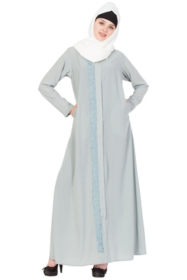 Grey Nida Embroidered Stitched Islamic Abaya