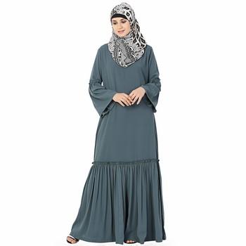 Grey plain polyester stitched islamic abaya