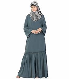 Grey plain polyester stitched islamic abaya