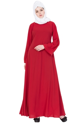 Red Nida Plain Stitched Islamic Abaya