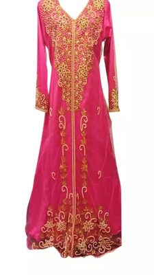 Pink Embroidered Georgette Stitched Islamic Kaftan