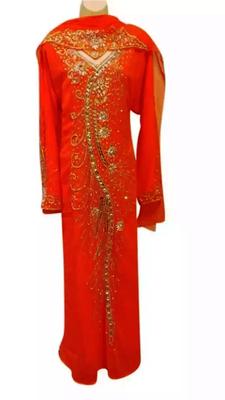 Orange Embroidered Georgette Stitched Islamic Kaftan
