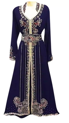 Navy Blue Embroidered Georgette Stitched Islamic Kaftan