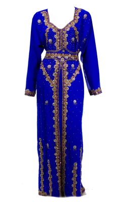 Royal Blue Embroidered Georgette Stitched Islamic Kaftan