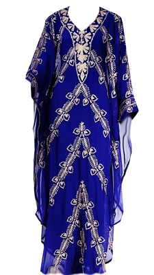 Blue Embroidered Georgette Stitched Islamic Kaftan