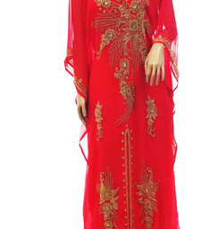 Red Embroidered Georgette Stitched Islamic Kaftan