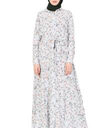 Sea Green Polycrepe Plain Stitched Islamic Abaya