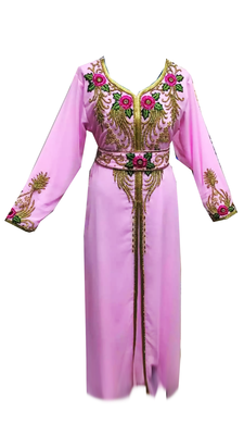 Light Pink Embroidered Georgette Stitched Islamic Kaftan