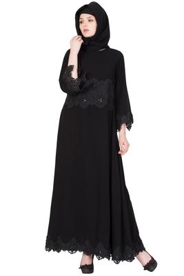 Black Nida Embroidered Stitched Islamic Abaya