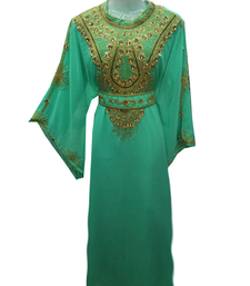 Sea Green Embroidered Georgette Stitched Islamic Farasha