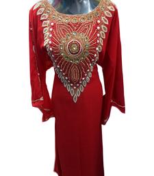 Maroon Embroidered Georgette Stitched Islamic Farasha
