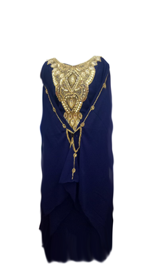 Navy Blue Embroidered Georgette Stitched Islamic Farasha