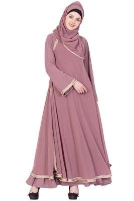 Puce Pink Nida Plain Stitched Islamic Abaya