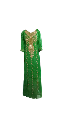 Green Embroidered Georgette Stitched Islamic Farasha