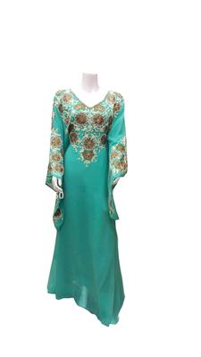 Firozi Embroidered Georgette Stitched Islamic Farasha