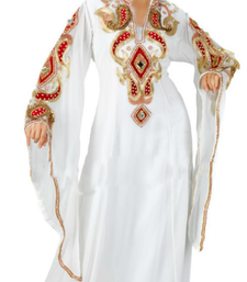 Off White Embroidered Georgette Stitched Islamic Farasha