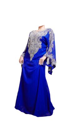 Royal Blue Embroidered Georgette Stitched Islamic Farasha