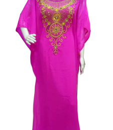 Pink Embroidered Georgette Stitched Islamic Farasha