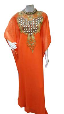 Orange Embroidered Georgette Stitched Islamic Farasha