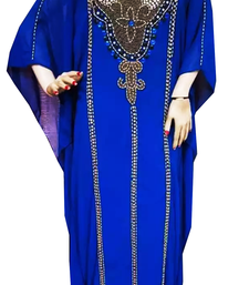 Royal Blue Embroidered Georgette Stitched Islamic Farasha