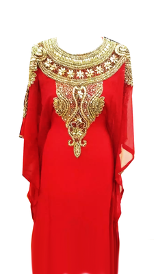 Red Embroidered Georgette Stitched Islamic Farasha