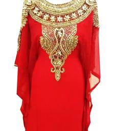 Red Embroidered Georgette Stitched Islamic Farasha
