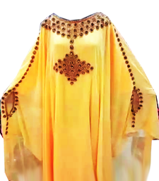 Yellow Embroidered Georgette Stitched Islamic Farasha