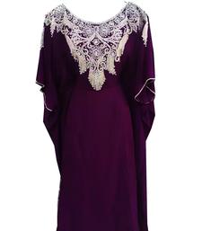 Purple Embroidered Georgette Stitched Islamic Farasha