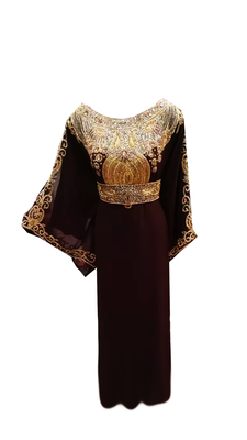 Brown Embroidered Georgette Stitched Islamic Farasha
