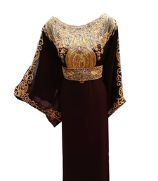 Brown Embroidered Georgette Stitched Islamic Farasha