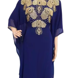 Navy Blue Embroidered Georgette Stitched Islamic Farasha