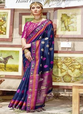 76720210651471 Navy blue woven cotton silk saree with blouse - Monjolika - 2710578