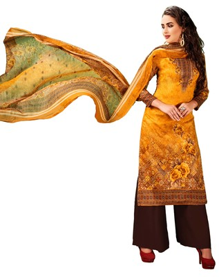 Multicolor Embroidered Cotton Salwar With Dupatta