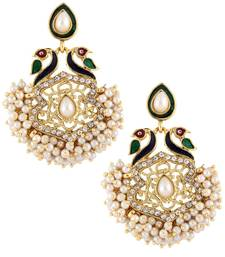 peacock mayur meenakari pearl gold plated chaand bali earring