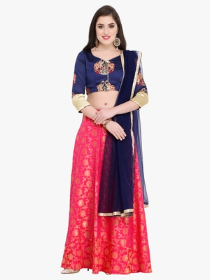 Pink abstract print silk semi stitched lehenga with dupatta