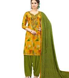 Buy Yellow embroidered cotton salwar with dupatta patiala-salwar online