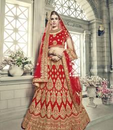 Buy Red Embroidered Satin Unstitched bridal Lehenga Choli bridal-lehenga online