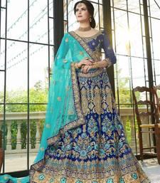 Blue Embroidered Net Unstitched Lehenga Choli wedding-lehenga