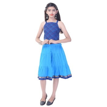 Blue Cotton Printed Set of Skirt and Top for Girls