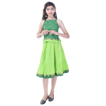 Green Cotton Printed Set of Skirt and Top for Girls