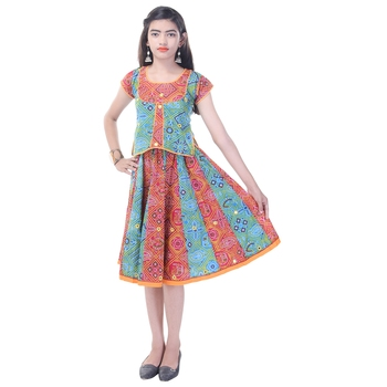 Multicolor Cotton Printed Set of Skirt and Top for Girls