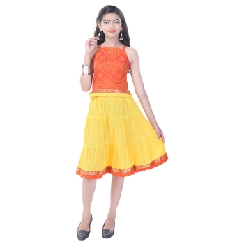 Orange Cotton Printed Set of Skirt and Top for Girls