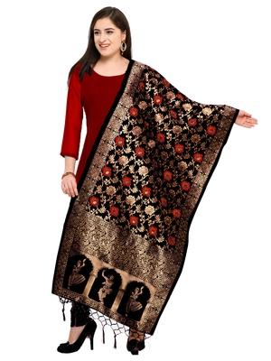 Women's Black Banarasi Woven Work Stole And Dupattas (free Size)